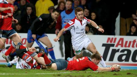 Ivan Dineen scored the first of Munster's three tries in the Pro12 clash in Belfast