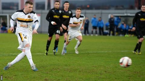 Bryan Prunty scores for a penalty against Greenock Morton