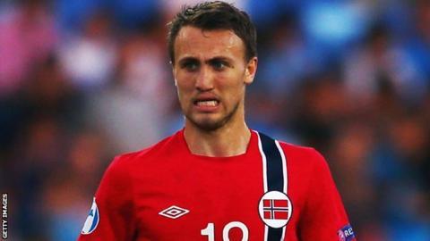 Magnus Wolff Eikrem in action for Norway Under-21s