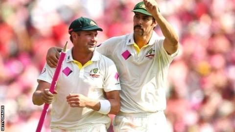 Australia pacemen Ryan Harris and Mitchell Johnson