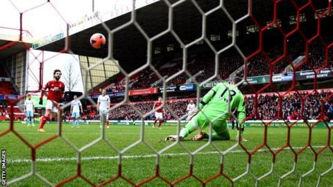 Djamel Abdoun scores a penalty for Nottingham Forest against West Ham