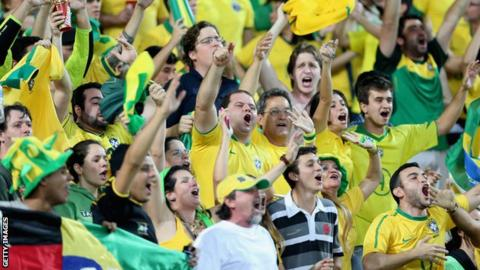 RIO DE JANEIRO, BRAZIL - JUNE 30: Brazil fans celebrate during the FIFA Confederations Cup Brazil 2013 Final match between Brazil and Spain at Maracana on June 30, 2013 in Rio de Janeiro, Brazil.