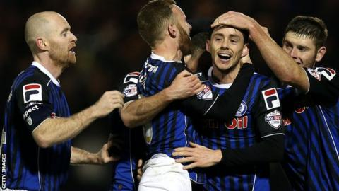 Rochdale players celebrate