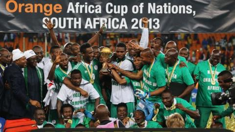 Nigeria celebrate winning the 2013 Africa Cup of Nations