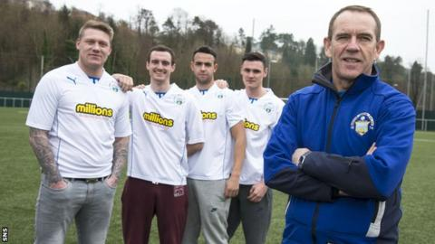Kenny Shiels with his four new Morton signings