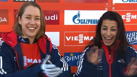 Britain's Lizzy Yarnold (l) and Shelley Rudman