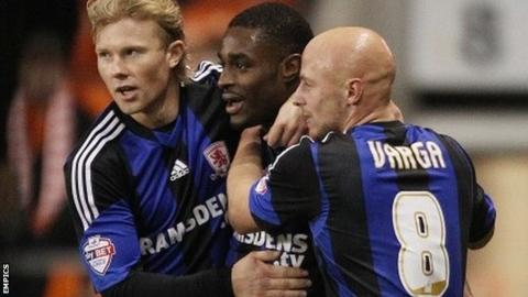 Middlesbrough's Mustapha Carayol celebrates scoring his first goal against Blackpool with his team-mates