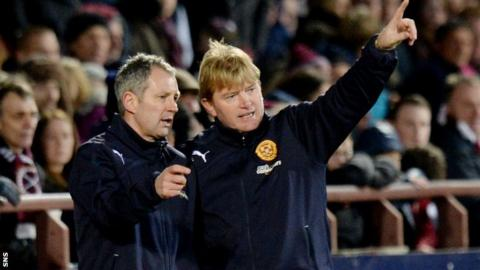 Hearts assistant manager Kenny Black and manager Stuart McCall