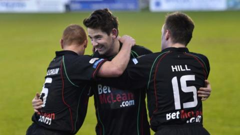 Two-goal hero Curtis Allen is congratulated by Stephen McAlorum and Jason Hill during Glentoran's 3-1 win at Portadown