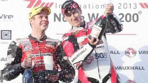 Jamie Hamilton (left) on the supertwins podium with winner Jeremy McWilliams during last year's North West 200