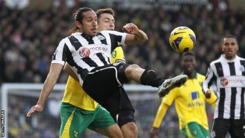 Jonas Guiterrez in action against Norwich City last season