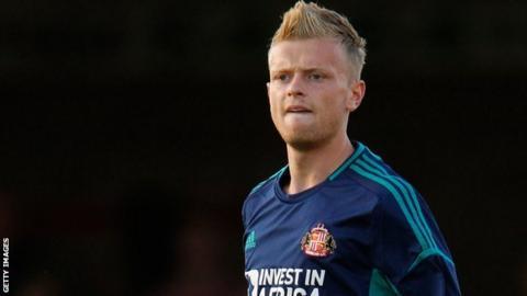 Striker Ryan Noble playing for Sunderland