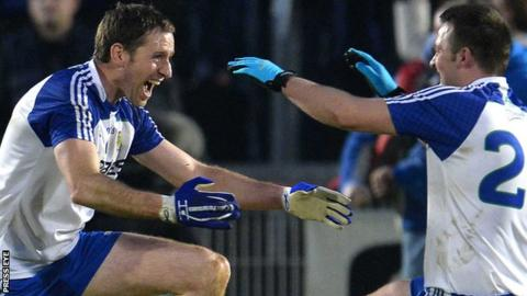 Ballinderry players Enda Muldoon and Darren Conway celebrate after winning the Ulster title