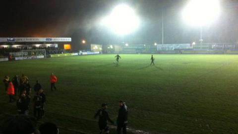 Floodlight failure at the New Lawn forced Forest Green's game against Grimsby to be abandoned.