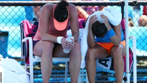 Doubles pair Eva Hrdinova and Paula Ormaechea feel the heat