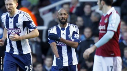 "Nicolas Anelka makes his ""quenelle"" gesture"