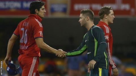England captain Alastair Cook shakes hands with his Australian counterpart Michael Clarke