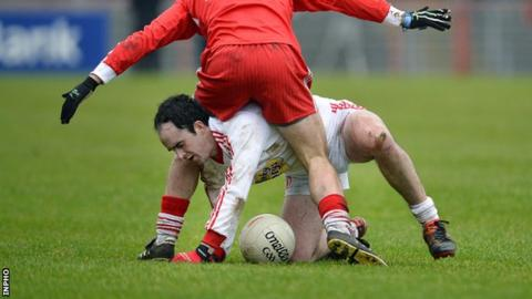Tyrone's Kevin Gallagher in action against Derry in the McKenna Cup last year