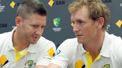 Australia captain Michael Clarke (left) and batsman George Bailey