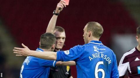 Referee Brian Colvin sends off Steven Anderson