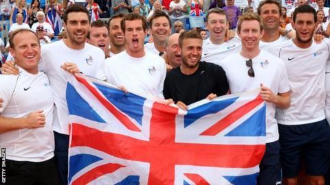 GB Davis Cup team celebrate