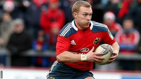 Keith Earls was carried off in Munster's Heineken Cup win over Edinburgh on Sunday