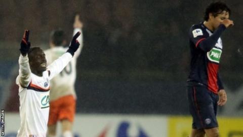 Montpellier celebrate against PSG