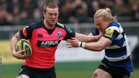 Centre Owen Williams, making his Cardiff Blues comeback following injury, takes on Bath's Tom Biggs in the LV= Cup at the Recreation Ground.