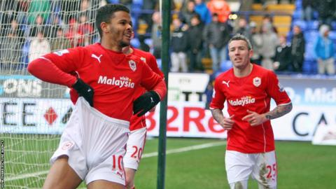 Substitute Fraizer Campbell celebrates after scoring the goal which secured Cardiff City's 1-0 win over Bolton and a place in the fifth round of the FA Cup.