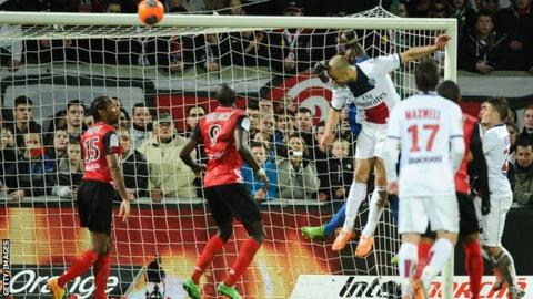 Alex heads in a late equaliser for Paris St-Germain at Guincamp