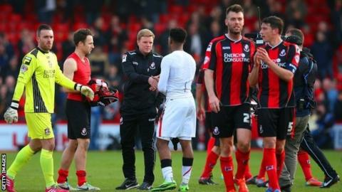 Bournemouth players and Eddie Howe
