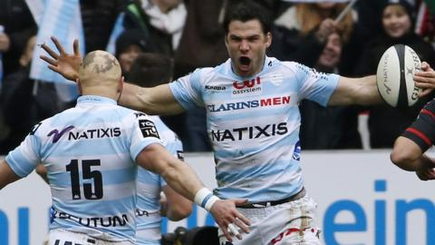 Wales scrum-half Mike Phillips celebrates after scoring a try in Racing Metro's 25-5 win over Toulouse in the Top 14.