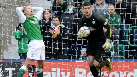 Celtic goalkeeper Fraser Forster made three good saves at Easter Road