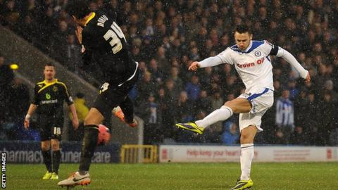 Michael Rose scores for Rochdale against Sheffield Wednesday