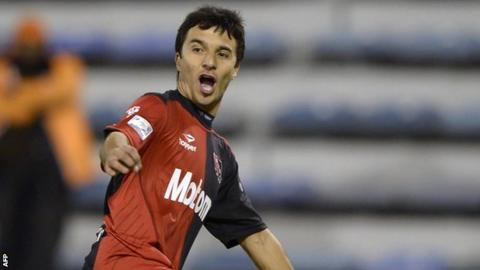 Ignacio Scocco celebrating a goal during a previous spell at Newell's Old Boys
