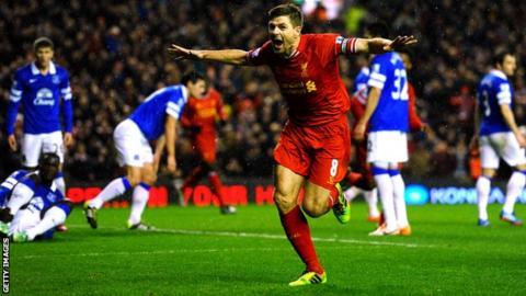 Steven Gerrard celebrates