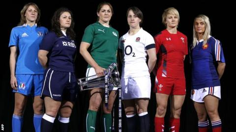 Italy's Sylvia Gaudino, Scotland's Tracey Balmer, Ireland's Fiona Coghlan, England's Katy McLean, Wales' Philippa Tuttiett and France's Marie-Alice Yahe pose with the Six Nations trophy