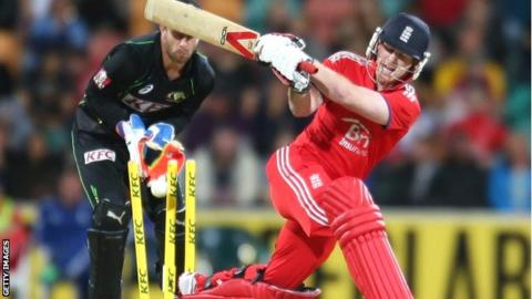 England batsman Eoin Morgan is bowled for four in Hobart