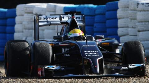 Esteban Gutierrez of Mexico and Sauber F1 goes off into a gravel trap while driving during day two of testing at Jerez