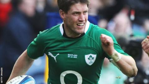 Ronan O'Gara surges away to score a try during the 2011 Six Nations