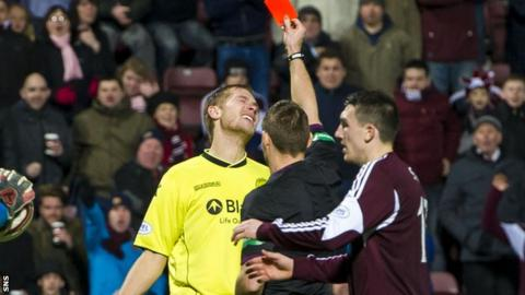 Marc McAusland was sent off at Tynecastle
