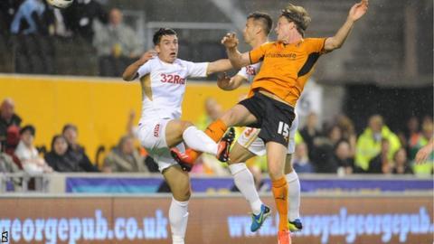 Bjorn Sigurdarson heads Wolverhampton Wanderers ahead against Crawley Town