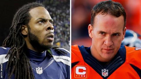 Richard Sherman (left) of the Seattle Seahawks faces Denver Broncos' Peyton Manning in Super Bowl XLVIII