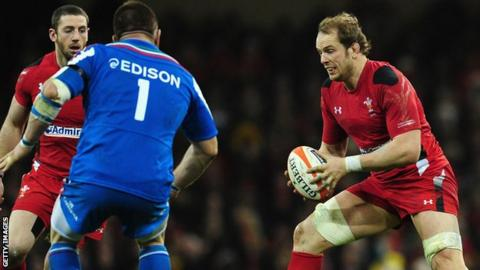 Alun Wyn Jones in action against Italy in Cardiff