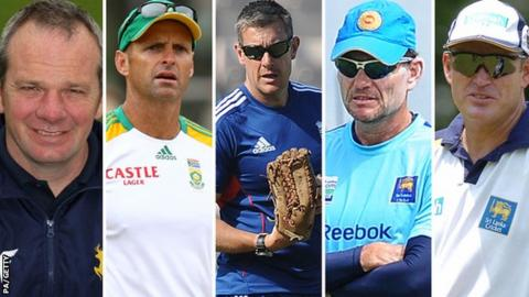(left to right) Mick Newell, Gary Kirsten, Ashley Giles, Graham Ford, and Tom Moody