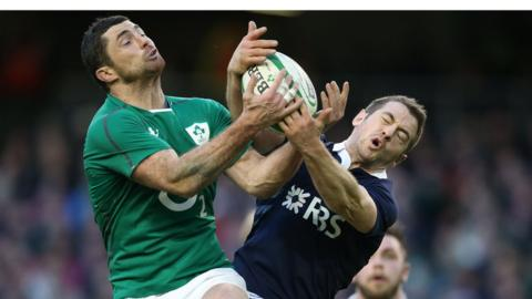 Rob Kearney and Greig Laidlaw in action during Ireland's convincing win over Scotland in Dublin