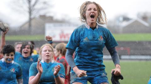 Italy's Alice Trevisan shows her delight after her team had beaten Wales 12-11 in the Women's Six Nations match at Aberavon