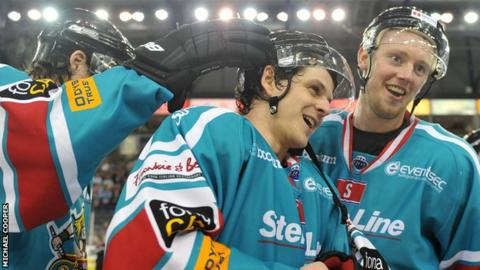 Craig Peacock is congratulated after his two goals helped Belfast Giants beat Sheffield on Sunday