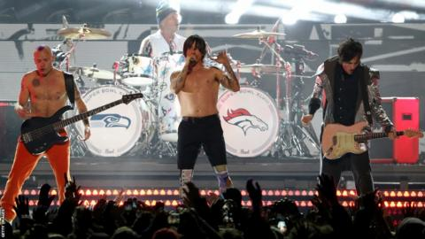 The Red Hot Chili Peppers perform in Super Bowl XLVIII's half-time show