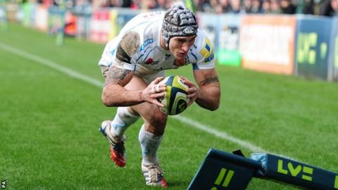 Exeter winger Tom James scores the Chiefs' opening try at Sixways